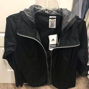 Adidas Black Climastorm jacket w/hood & reflector.